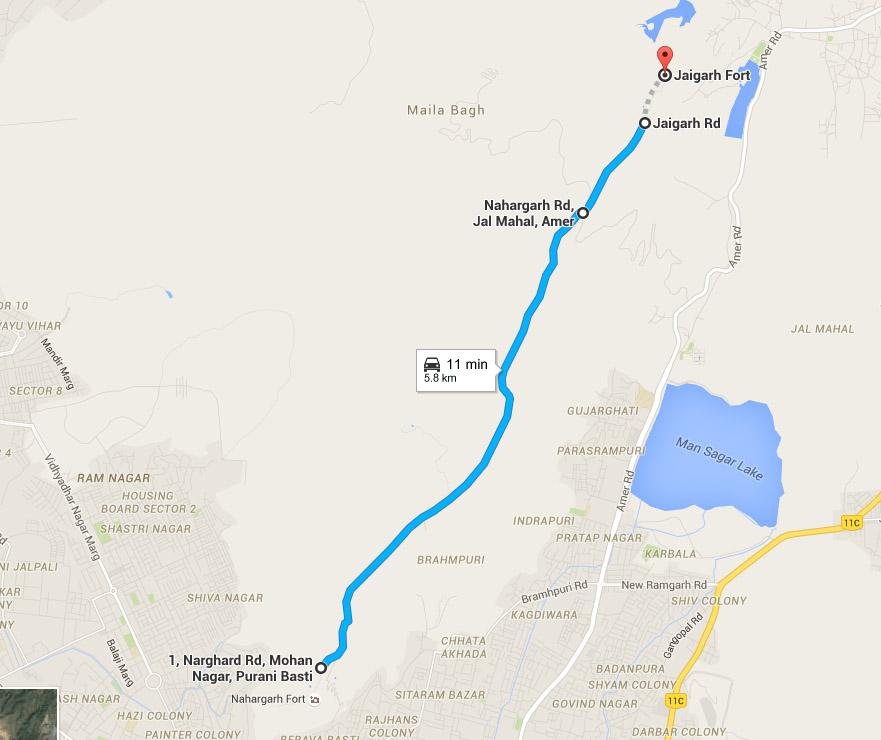 नाहरगढ़ से जयगढ़ जाने हेतु सड़क