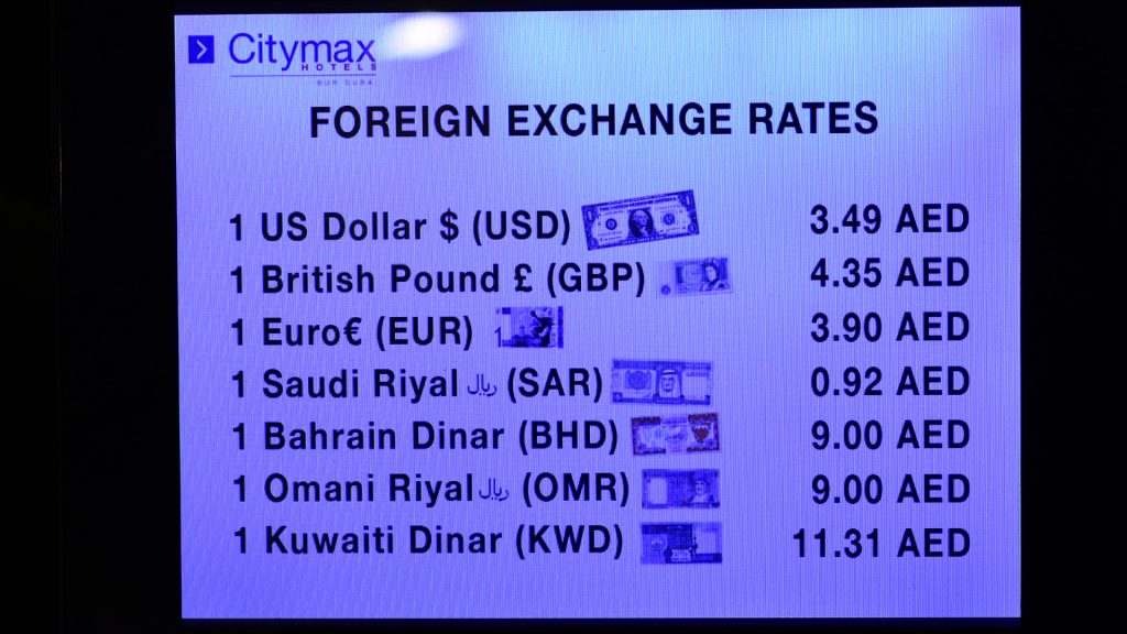 Foreign currency conversion rates at Hotel Citymax Dubai
