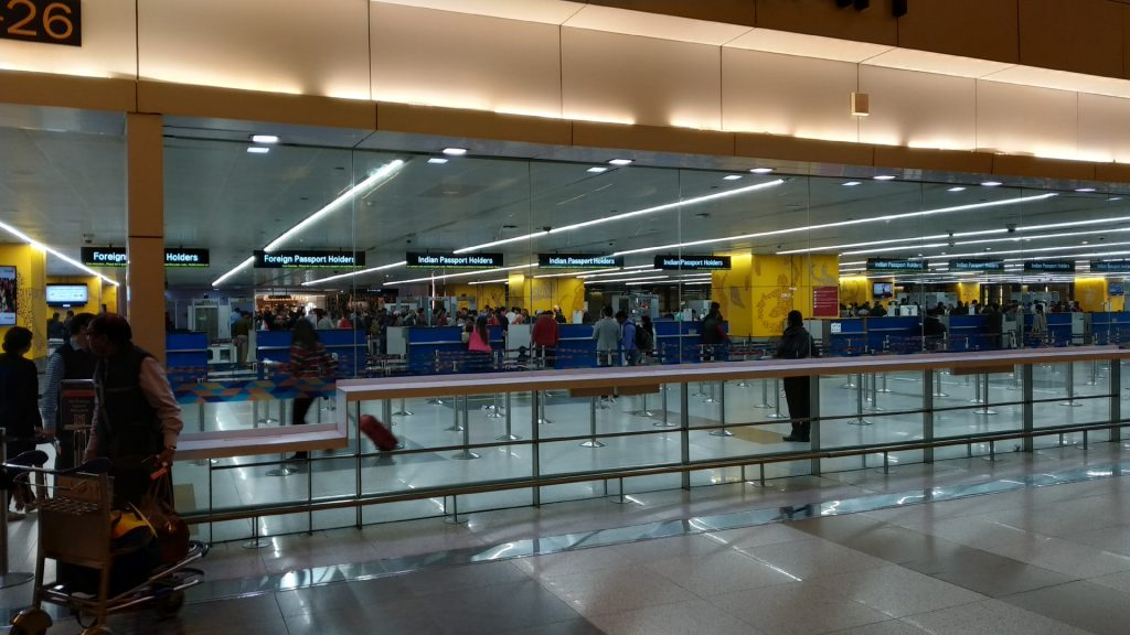 Immigration Counters for Indian Passport holders at IGI Airport, New Delhi for international travel