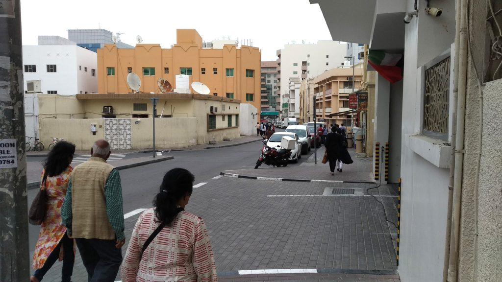 Walking on foot for Meena Bazar Dubai.