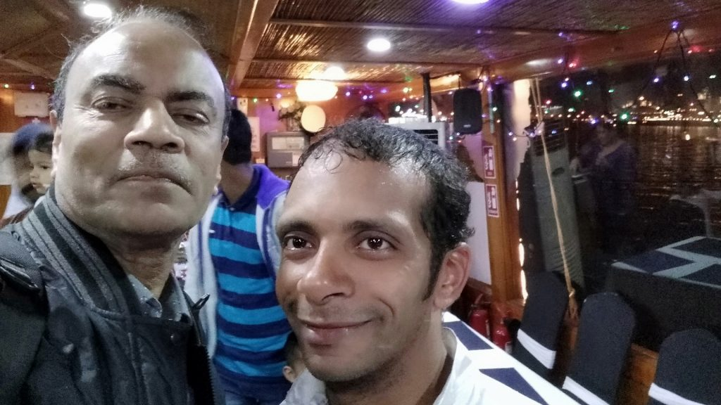 Selfie with the dance performer at Dubai Dhow.