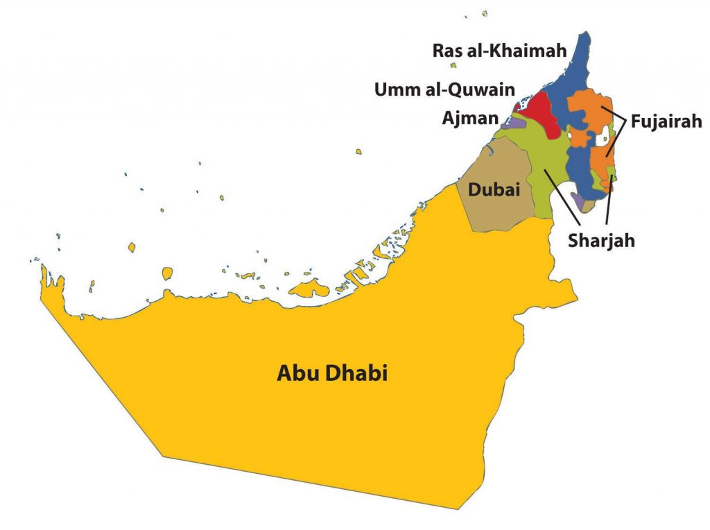 The seven Emirates of UAE. Dubai stands 2nd in terms of size.
