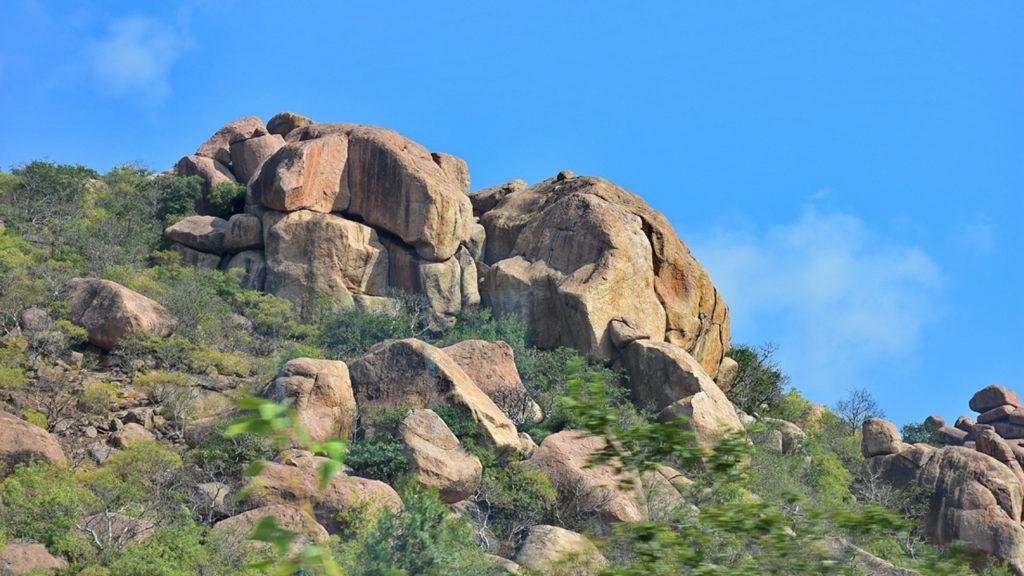 हैदराबाद - श्री शैलम मार्ग पर दोनों ओर पहाड़ी पर ऐसे विशालकाय पत्थर एक के ऊपर एक रखे हुए दिखाई देने लगते हैं । न जाने किसने इतने भारी भरकम पत्थरों को उठा कर एक दूसरे पर रखा होगा!
