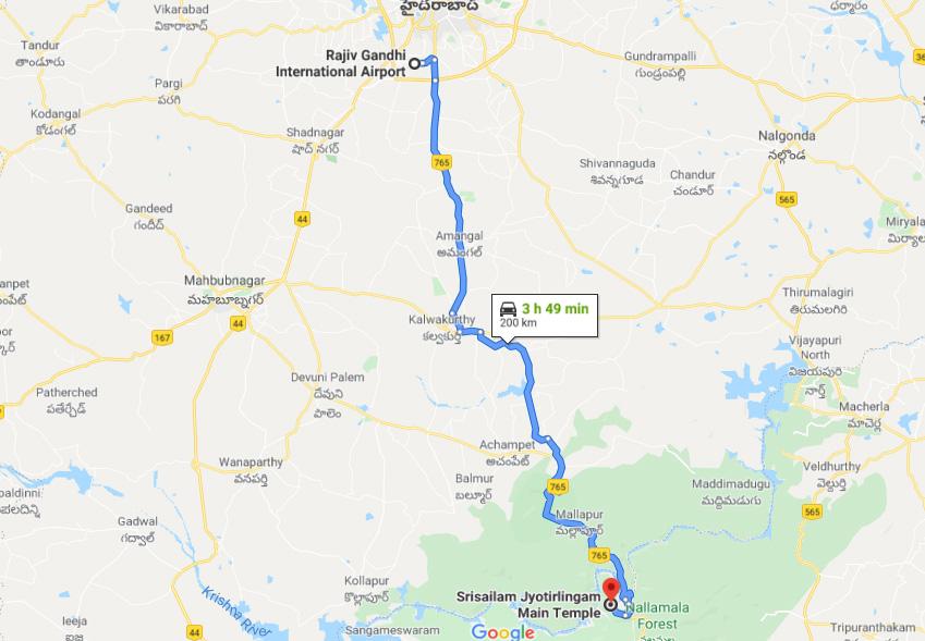 गूगल मैप पर देख कर ज्ञान मिला कि मल्लिकार्जुन ज्योतिर्लिंग तेलंगाना में नहीं बल्कि आंध्र प्रदेश के कुलुनूर जिले में श्री शैलम नामक पर्वत पर स्थित है और लगभग 210 किमी दूर है।