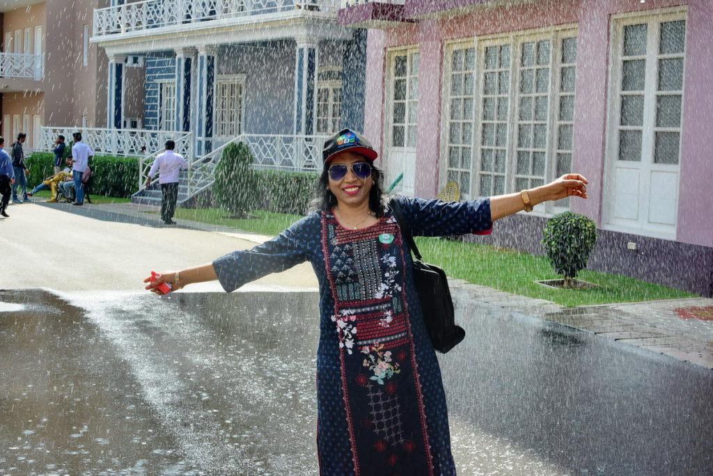 Artificial rain and snow fall at Ramoji Film City