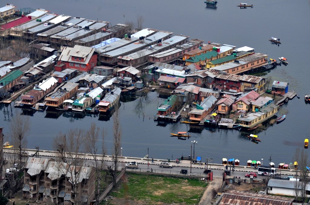 Dal Lake, House boats and Boulevard Road as seen from the view point on our way to Shankaracharya Hill, Srinagar.