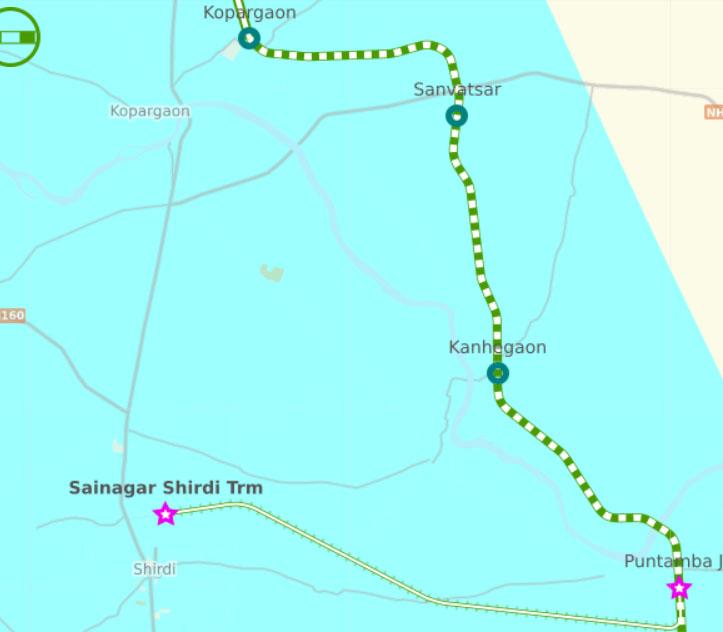 सड़क मार्ग से कोपरगांव से शिरडी की दूरी -15 किमी,  रेल मार्ग से कोपरगांव स्टेशन से साईंनगर शिरडी स्टेशन की दूरी 41 किमी !