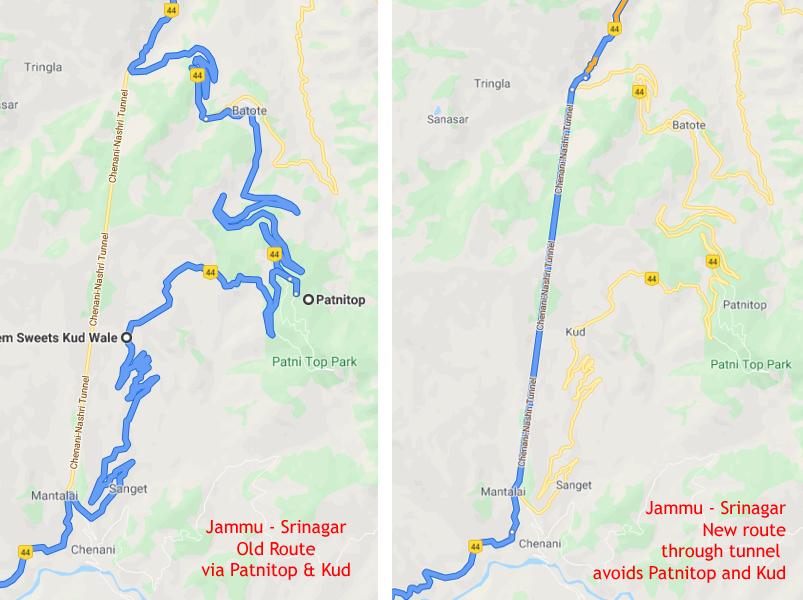 बाईं ओर के नक्शे में पटनीटॉप और कुद होते हुए पहाड़ी रास्ता दिखाई दे रहा है जबकि दाईं ओर के नक्शे में 9 किमी लंबी डा. श्यामाप्रसाद मुखर्जी सुरंग दिखाई दे रही है जो 30 किमी रास्ता घटा देती है।  ये सुरंग प्रधानमंत्री श्री नरेन्द्र मोदी द्वारा  वर्ष 2017 में राष्ट्र को समर्पित की गयी है।